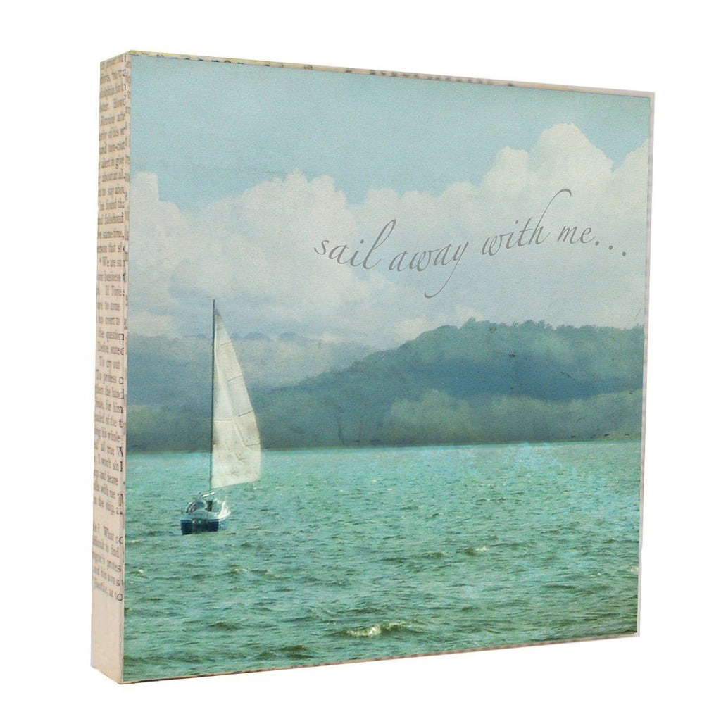 "Mixed Media Salvaged Wood and Book Paper 5x5 Art Block ""Sail Away"""