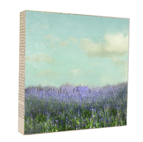 "Mixed Media Salvaged Wood and Book Paper 5x5 Art Block ""Bluebells"""