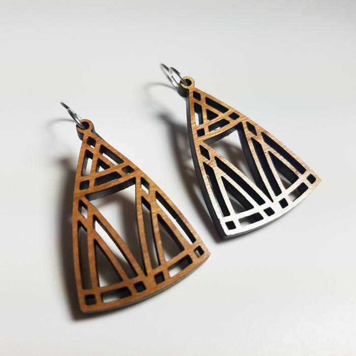 Prairie Style Cherry Wood Earrings