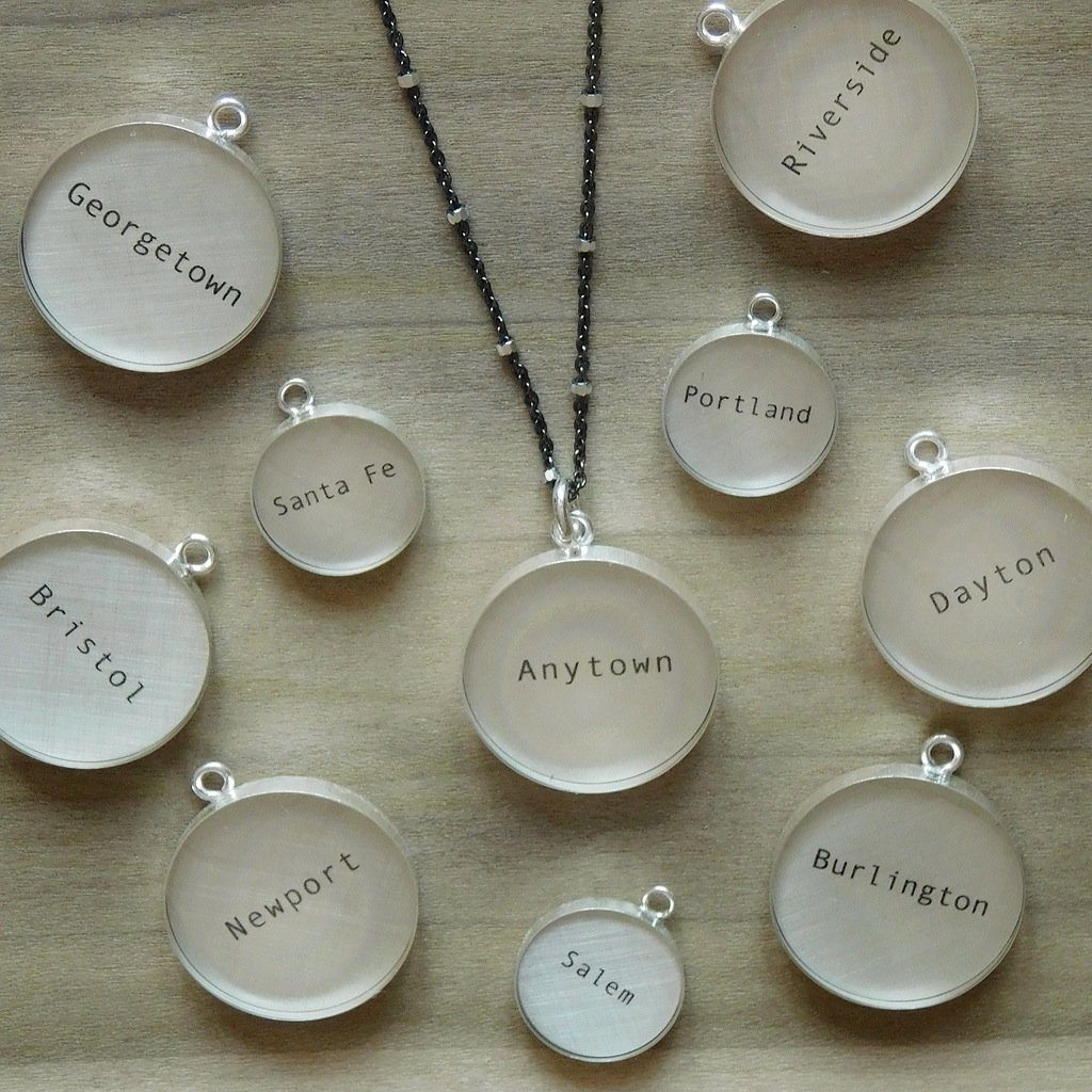 "Your Town Custom 12mm Pendant, 18"" Chain"