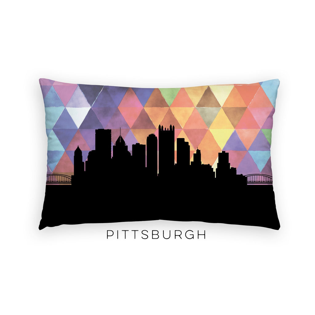 Pittsburgh skyline geometric lumbar pillow