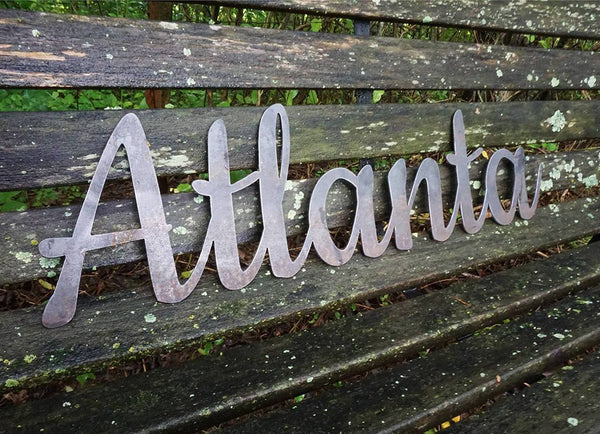 """Atlanta"" Rustic Raw Steel Cursive Word Art Wall Decor Sign by BE Creations & Designs, Inc."