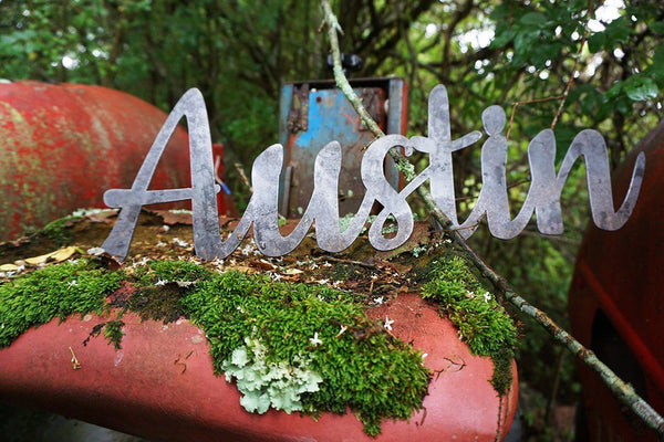 """Austin"" Rustic Raw Steel Cursive Word Art Wall Decor Sign by BE Creations & Designs, Inc."