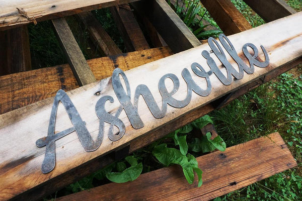 """Asheville"" Rustic Raw Steel Cursive Word Art Wall Decor Sign by BE Creations & Designs, Inc."