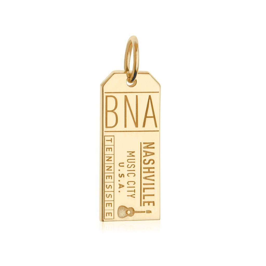 Gold USA Travel Charm, BNA Nashville Luggage Tag