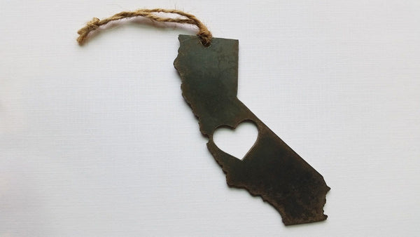 California State Rustic Raw Steel Metal Ornament with Heart by BE Creations & Designs, Inc.