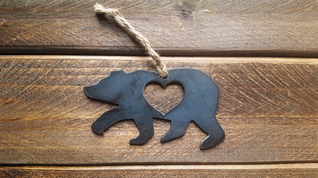 Bear Rustic Metal Raw Steel Metal Ornament by BE Creations & Designs, Inc.