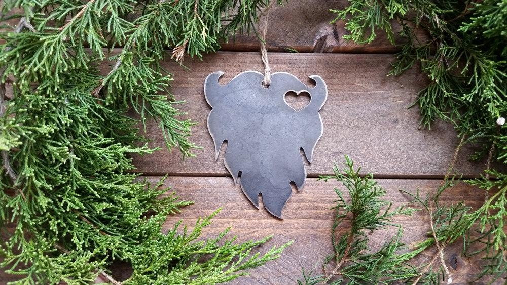 Beard Rustic Metal Raw Steel Keepsake Christmas Ornament by BE Creations & Designs