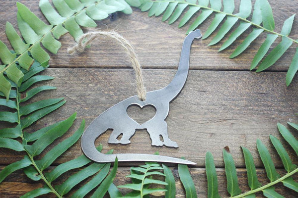 Apatosaurus Brontosaurus Brachiosaurus Dinosaur Rustic Metal Raw Steel Christmas Ornament by BE Creations & Designs