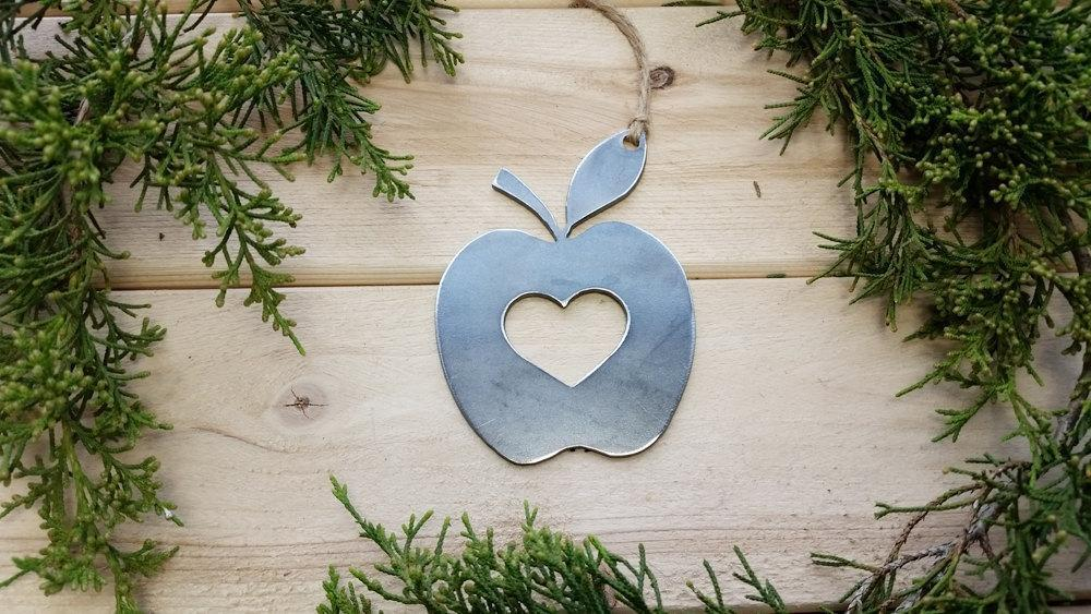 Apple Rustic Metal Raw Steel Christmas Ornament by BE Creations & Designs