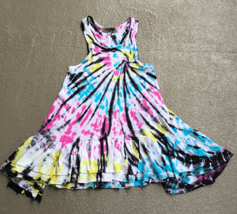 Girls Ruffle Bottom Tie Dye Tank Dress
