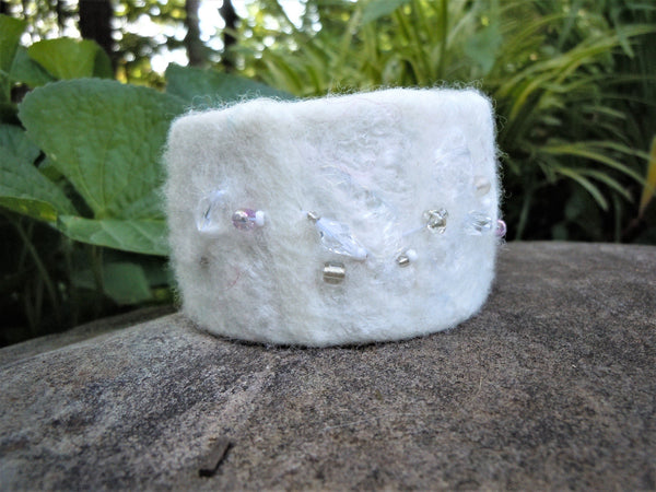 Felted Cuff Bracelet, White with Hand Beading
