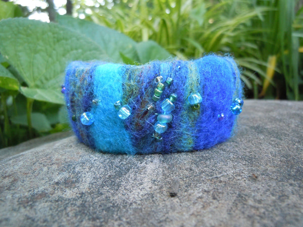 Felted Cuff Bracelet, Blues and Green with Hand Beading