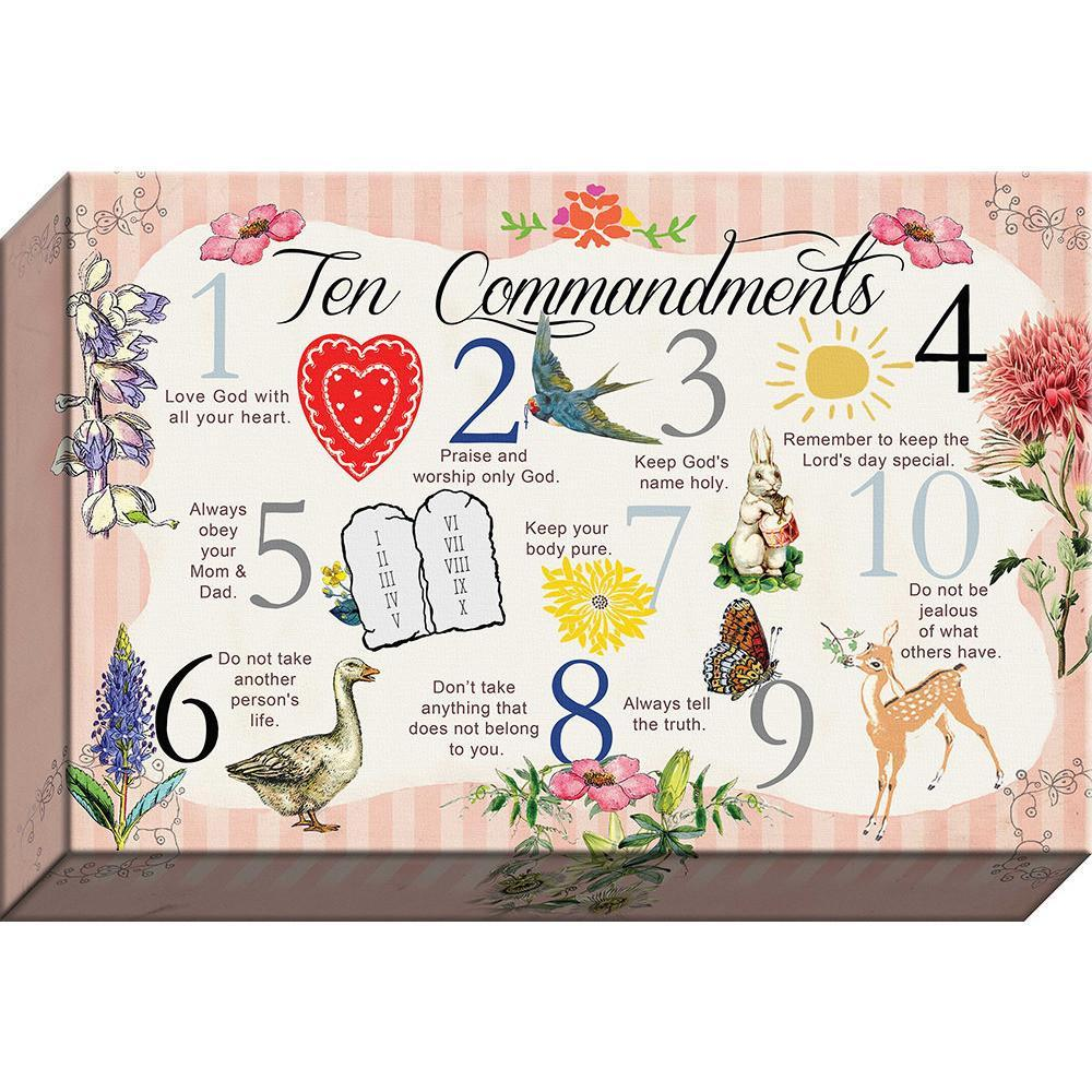 10 Commandments  Words of Life, God's Rules Vintage Canvas
