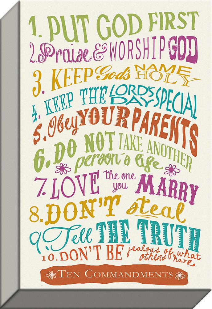 10 Commandments Giclee Canvas Words  of Life with vintage Emblems