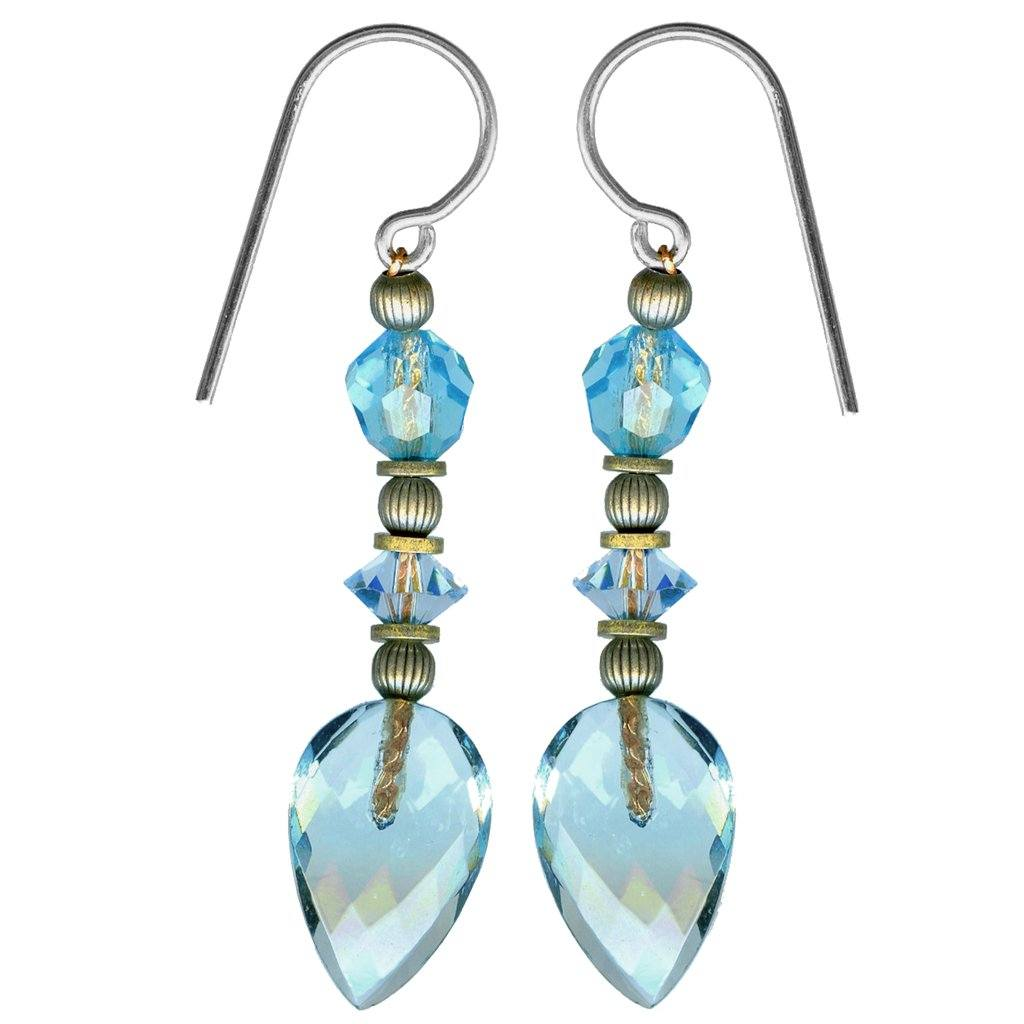 Aquamarine and Light Sapphire Glass and Crystal Earrings