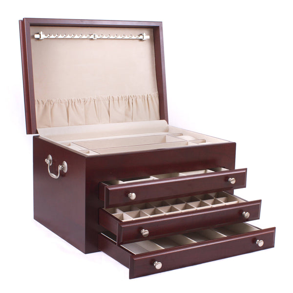 Majestic Jewel Chest, Solid American Cherry Hardwood with Rich Mahogany Finish. Made in USA
