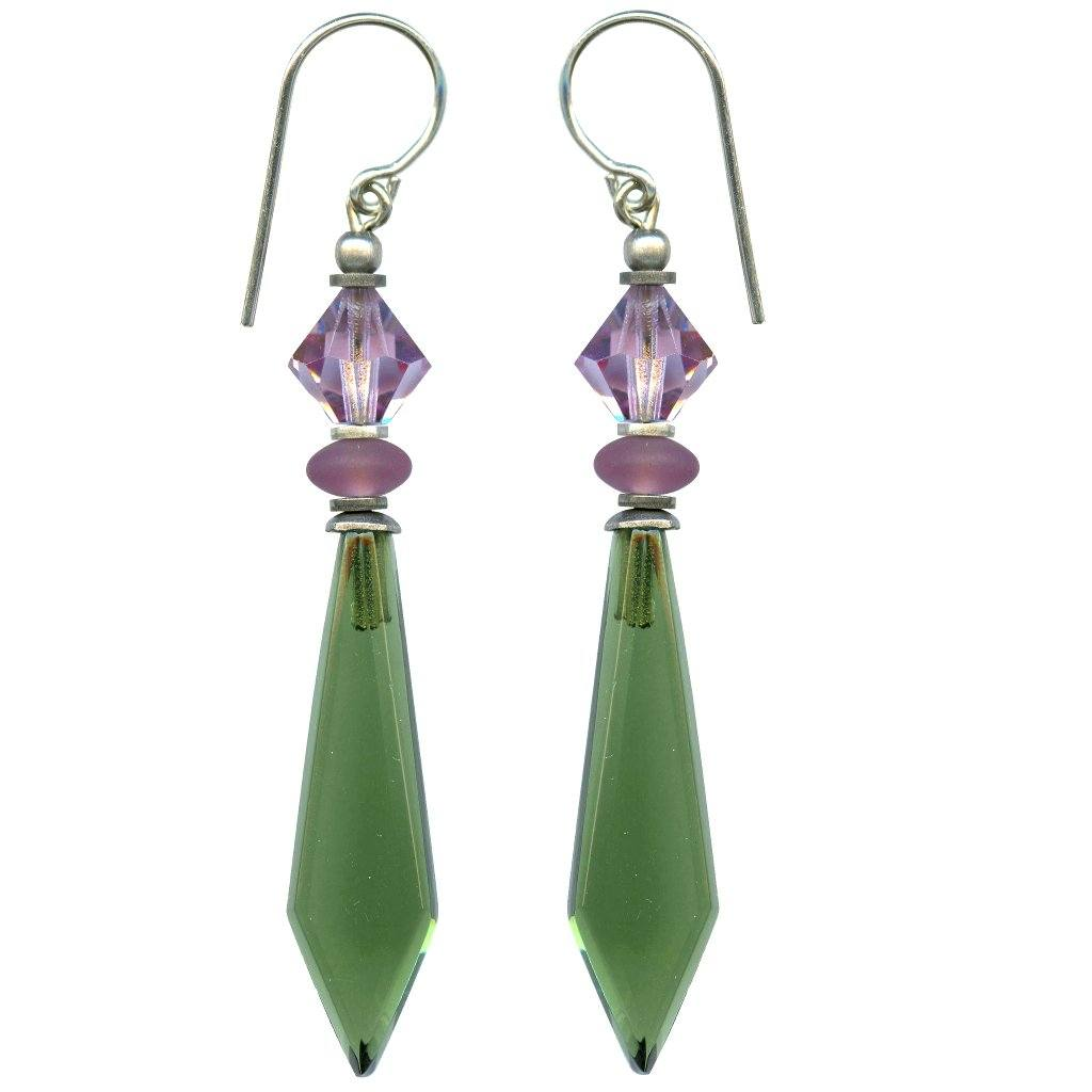 Tourmaline Green and Amethyst Glass and Crystal Earrings