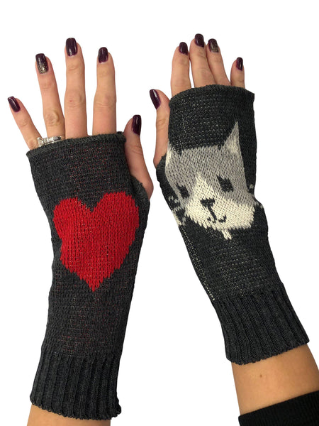 Green 3 Banana Kitty Fingerless Handwarmer Gloves