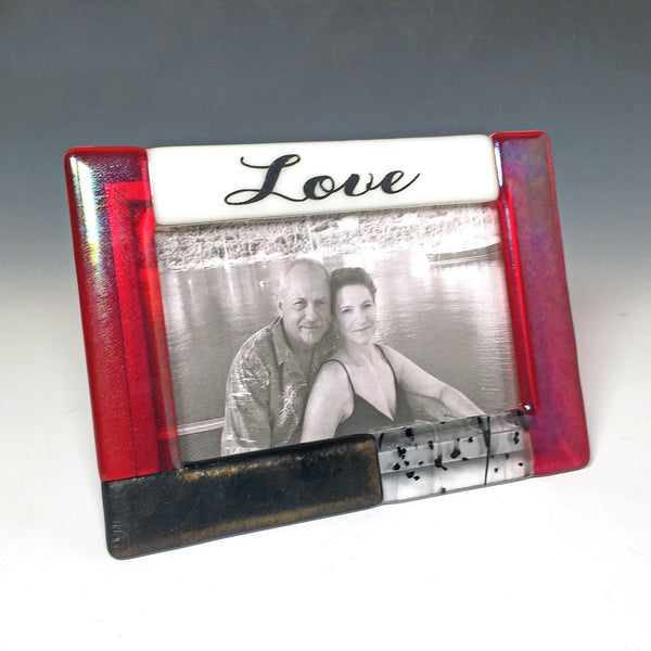 "'WORDS"" Series Fused Glass Photo Frame - Love"