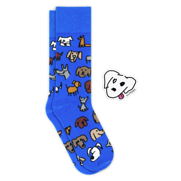 Quick, Draw! Dog - Unisex Combed Cotton Knit Socks
