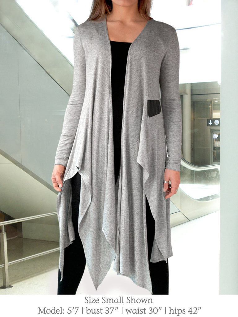 1834d5ff79 Asymmetric Cardigan / Yoga Cover-Up - Leslie Light Gray by Erin ...