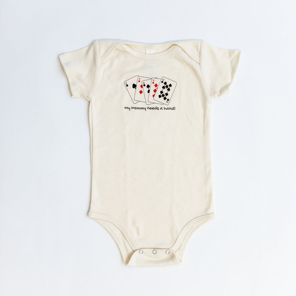 Vegas Style Organic Baby Romper. My Mommy Needs a Hand (Poker hand)