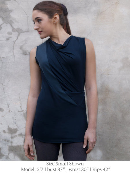 Sleeveless Top with Flattering Drape - Ella Navy