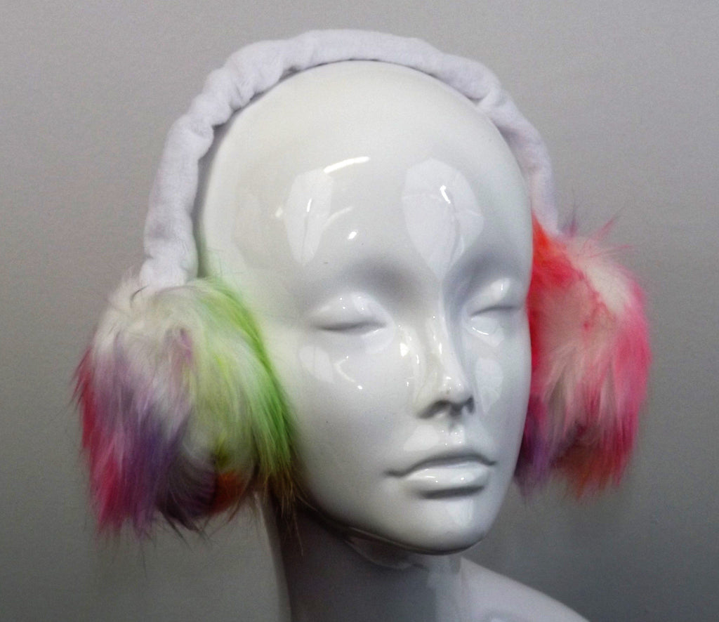 Adjustable Earmuffs, Ear Warmers - Watercolor Faux Fur