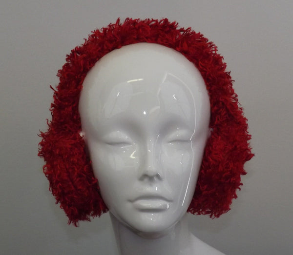 Adjustable Earmuffs, Ear Warmers - Curly Red Faux Fur