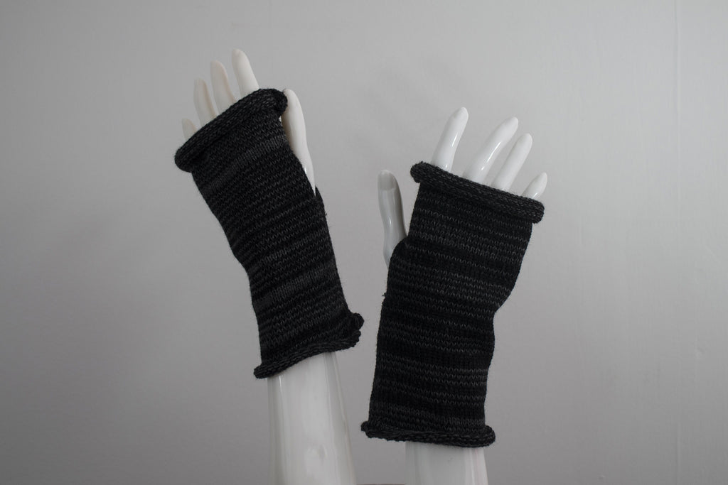 Knit Fingerless Gloves - Hand Warmers - Black and Gray