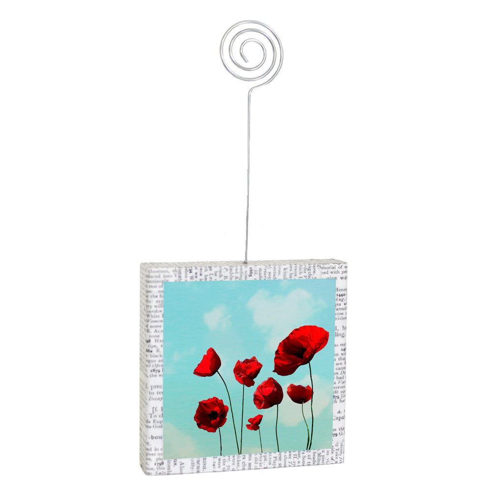 "Salvaged Wood Photo/Memo Holder ""Poppies"""