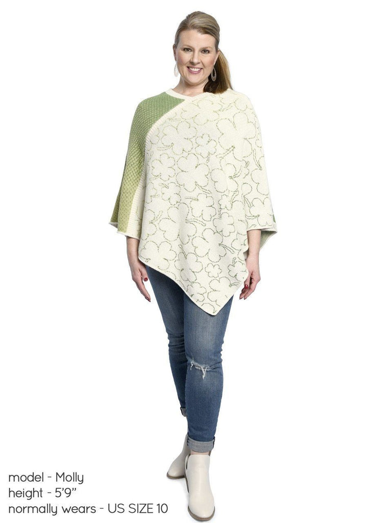 Green 3 Women's Shamrock Sweater Knit Poncho One Size Natural