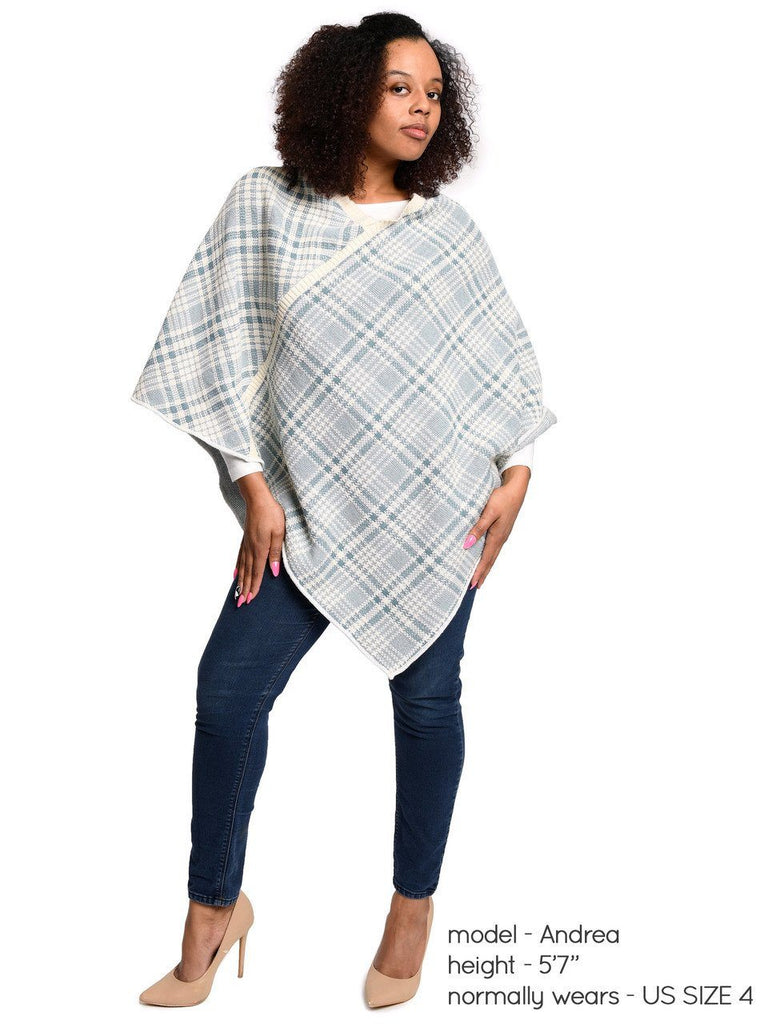 Green 3 Women's Plaid Sweater Knit Poncho One Size Teal
