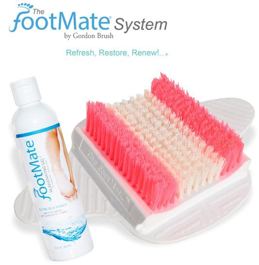 The FootMate® System Foot Massager & Scrubber — White/Pink