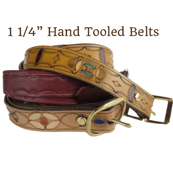 Custom Hand Tooled Leather Belts 1 1/4″