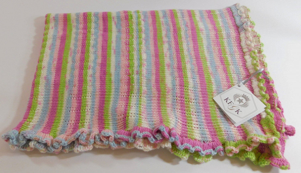 Baby Blanket, Multi Colored Knitted Design