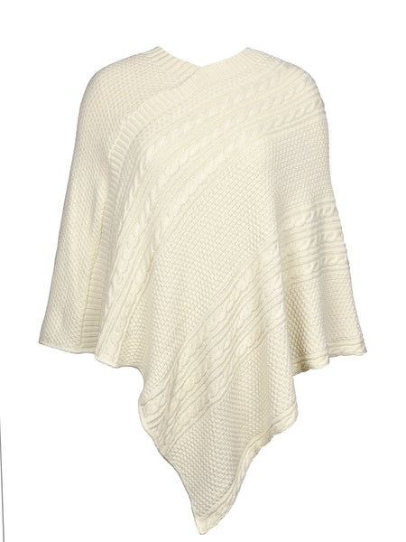 Green 3 Women's Cable Sweater Knit Poncho One Size Natural