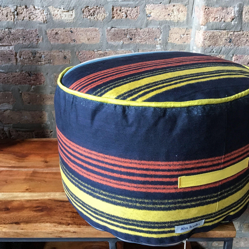 "Handmade Striped Mini Pouf Ottoman, 10"" High x 17"" Wide"