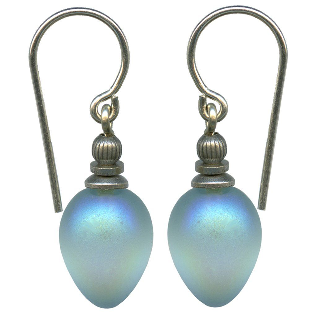 Frosted Iridescent Aquamarine Glass Drop Earrings