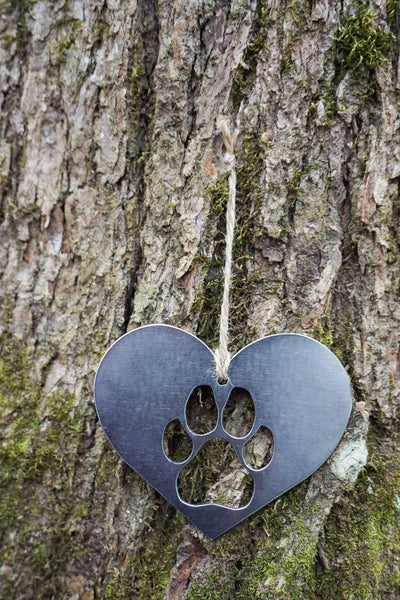 Dog PAW Heart Ornament