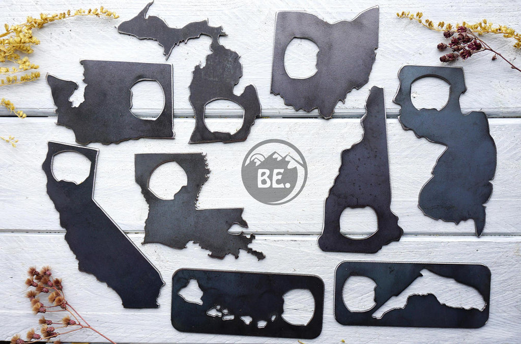 State Bottle Opener made from Recycled Raw Steel