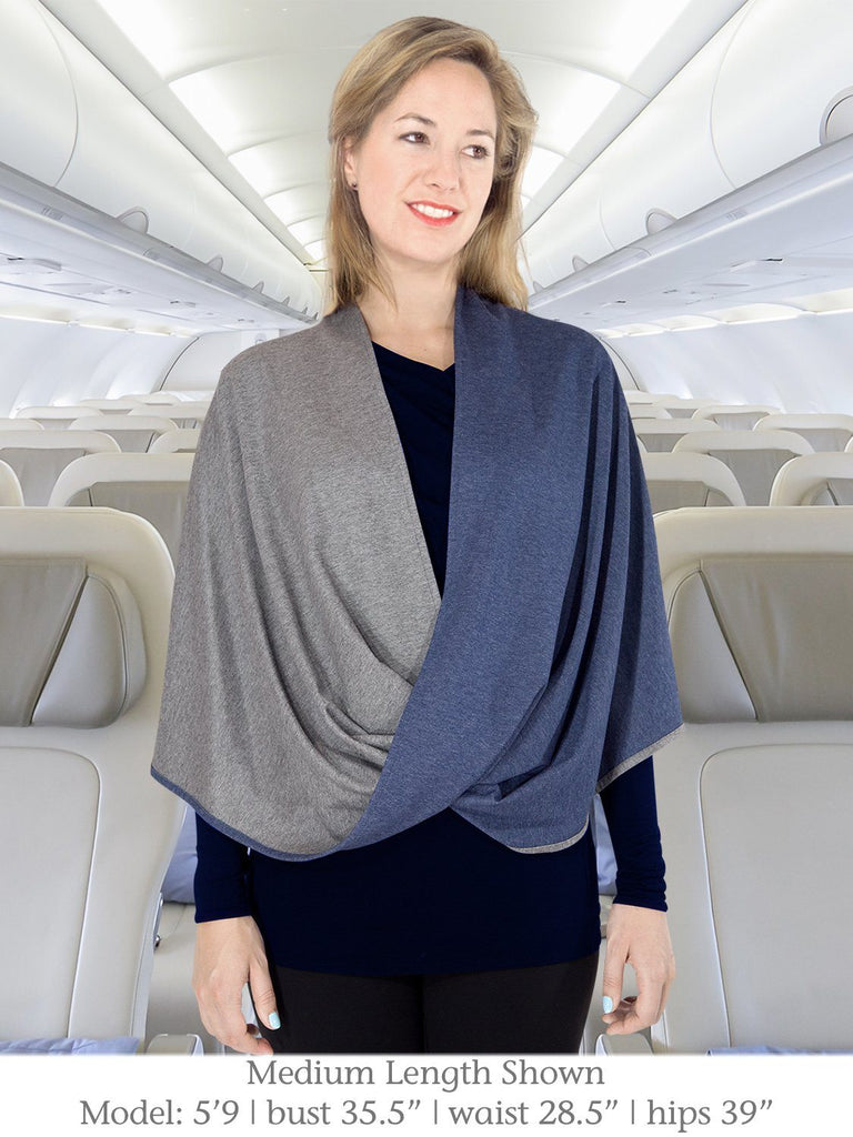 Blue and Gray Medium Length Beryl Infinity Shawl for Travel from Erin Draper.jpg