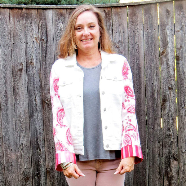 White Stretch Denim With Red Pink Paisley Colorful Print Cuffed Sleeved Mixed Media Jacket!