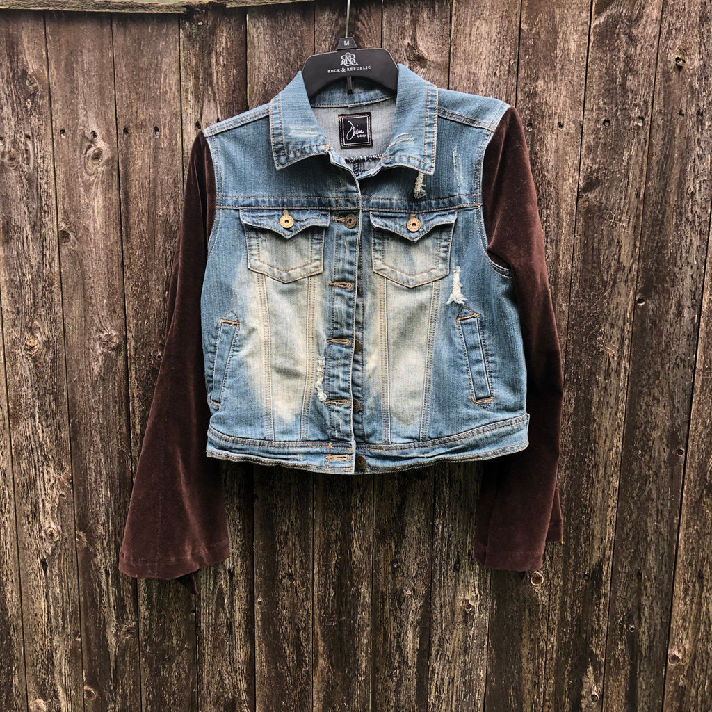 Dark Chocolate Velvet Bohemian Bell Sleeved Distresses Blue Denim Jacket