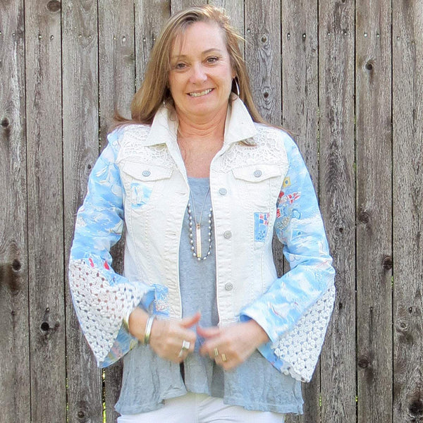 Sailing Nautical Flag Fun Sleeves Mixed Media Off White Distressed Denim Jacket with Lace