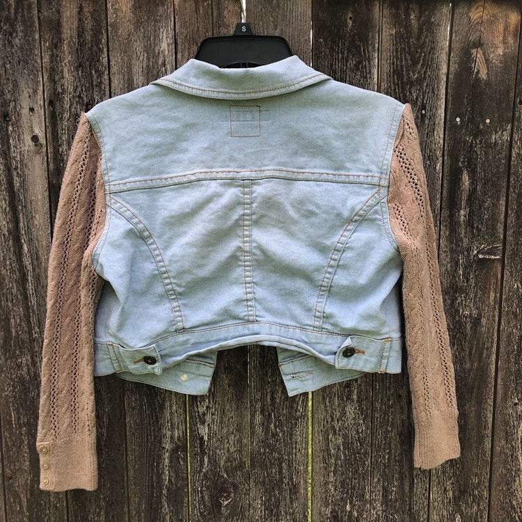 Light Wash Blue Short Denim Jacket with Milk Chocolate Knit 3/4 Sleeves