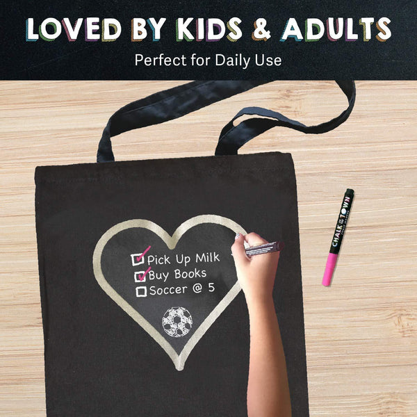 Chalk of the Town Silver Heart Chalkboard Tote Bag with Chalk Markers