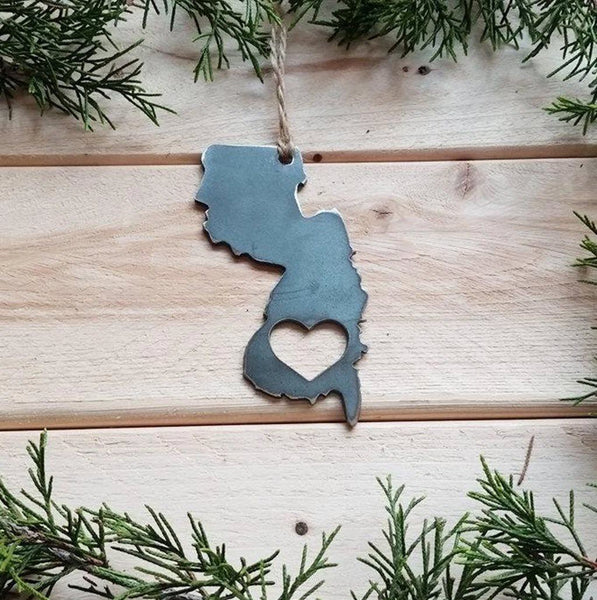 Choose Your State Steel Christmas Ornament with Heart