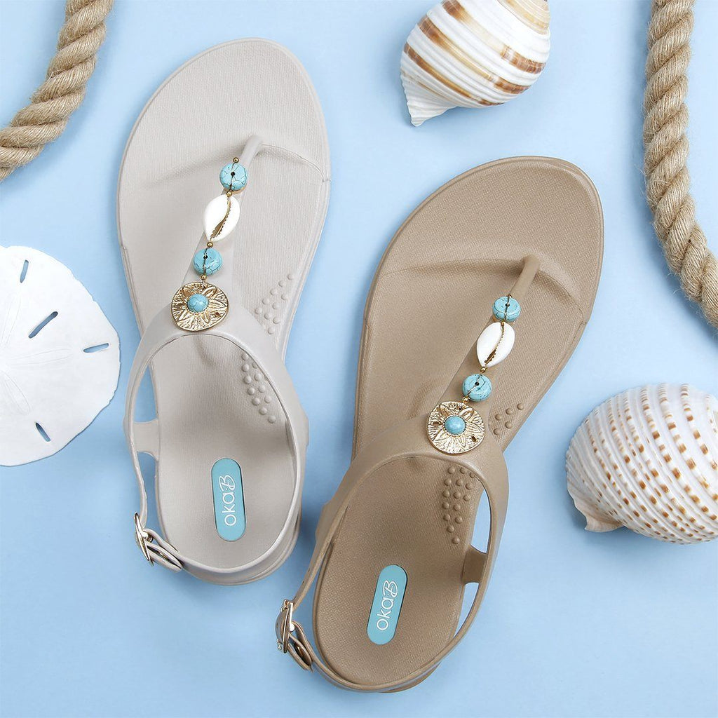 Shelly Women's Sandal Adorned with Turquoise and Shells